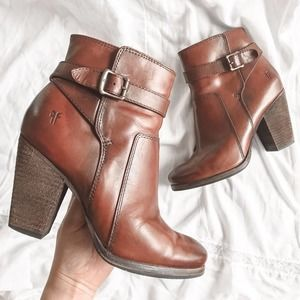 "Frye ""Patty Riding Bootie"" Tan Heeled Leather"